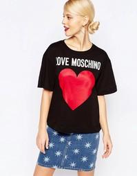 Футболка с принтом логотипа Love Moschino - Черный