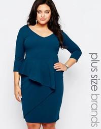 Платье-футляр с баской Goddiva Plus - Сине-зеленый