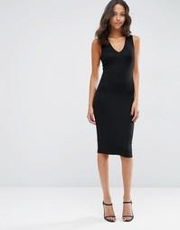 Облегающее платье миди с глубоким V-образным вырезом ASOS - Черный