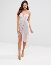 Платье на бретельках с драпировкой Glamorous - Светло-серый