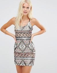 Свободное платье с пайетками Wyldr Bad Habits - Коричневый