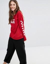 Красный свитшот с принтом на рукавах Vans - Красный
