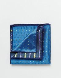 Двусторонний платок для пиджака с принтом 7X - Темно-синий