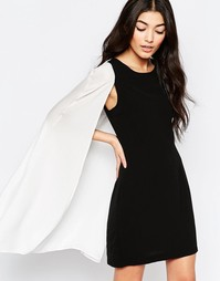 Цельнокройное монохромное платье с накидкой Liquorish