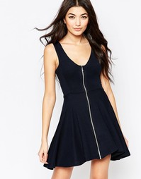 Короткое приталенное платье с молнией спереди Liquorish - Темно-синий