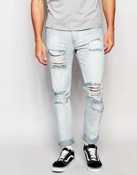 Рваные облегающие джинсы ASOS - Светло-голубой