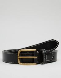 Кожаный ремень с декоративной строчкой ASOS - Черный