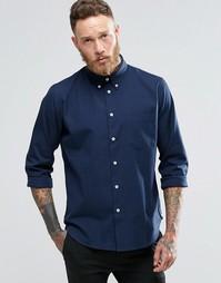 Темно-синяя оксфордская рубашка классического кроя Paul Smith
