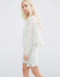 Платье мини с кроп-топом и отделкой 3D ASOS - Серый