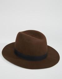 Коричневая мягкая фетровая шляпа ASOS - Коричневый