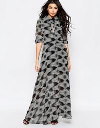 Платье-рубашка макси с геометрическим принтом волн Liquorish