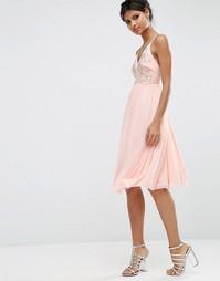 Платье миди для выпускного ASOS - Телесный