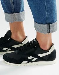 Черные кроссовки с серебристой отделкой Reebok Classic - Черный