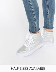 Высокие кроссовки на шнуровке ASOS DUKE - Серебряный