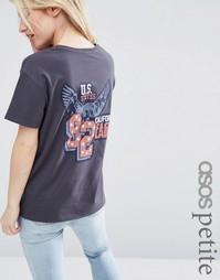 Выбеленная футболка с принтом 90 ASOS PETITE - Угольный