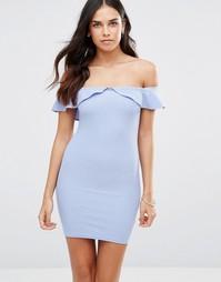 Облегающее платье с широким вырезом и оборкой Oh My Love