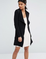 Драпированное пальто с поясом Vero Moda - Черный