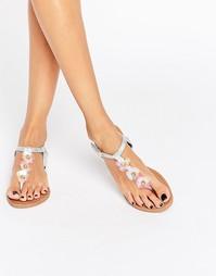 Плоские сандалии цвета металлик с цветочной отделкой Daisy Street