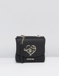 Маленькая фактурная сумка на плечо Love Moschino - Черный