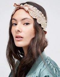 Присборенная повязка на голову с искусственным жемчугом - Телесный Asos