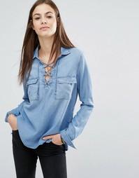 Сверхмягкая джинсовая рубашка со шнуровкой Abercrombie & Fitch
