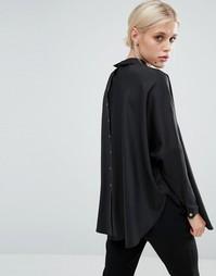 Рубашка-накидка свободного кроя на пуговицах сзади Paisie - Черный