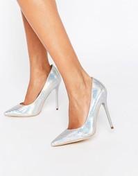 Серебристые туфли‑лодочки Public Desire Josie