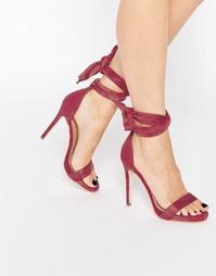 Сандалии на каблуке с завязками Public Desire Sakura - Бордовая замша