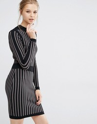 Трикотажное платье с длинными рукавами Y.A.S Billi - Черный