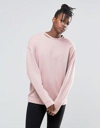 Розовый oversize-свитшот с рваной горловиной ASOS - Розовый мел