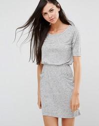 Серое короткое приталенное платье-футболка JDY - Светло-серый меланж