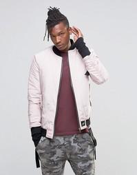 Куртка-пилот с отцепляемыми ремешками Sixth June - Розовый
