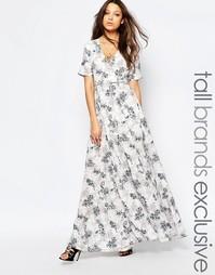 Платье макси с запахом спереди и цветочным принтом True Decadence Tall