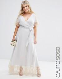 Платье макси с кружевной отделкой ASOS CURVE WEDDING - Серый
