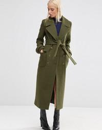 Пальто миди с поясом ASOS - Хаки