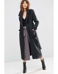 Пальто миди с поясом ASOS - Серый