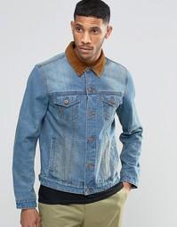 Голубая джинсовая куртка зауженного кроя с контрастным вельветовым вор Asos