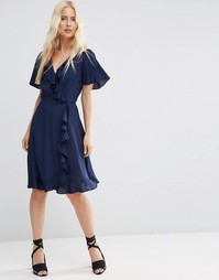 Чайное платье миди с запахом и оборкой спереди ASOS - Темно-синий