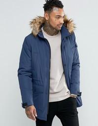 Темно-синяя куртка с отделкой искусственным мехом ASOS - Темно-синий