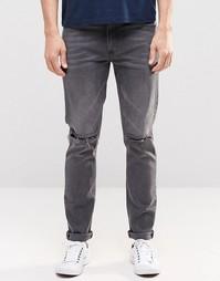 Выбеленные черные джинсы скинни с прорехами ASOS - Выбеленный черный