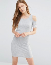 Серое облегающее платье с вырезами на плечах Only Lykke - Only lykke