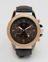 Черные часы с функцией даты и отделкой цвета розового золота ASOS
