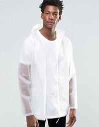 Прозрачная куртка с белой молнией Rains