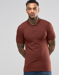 Красная трикотажная футболка-поло облегающего кроя ASOS - Chestnut