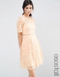 Кружевное платье мини для выпускного ASOS TALL - Телесный