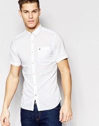 Белая поплиновая рубашка с короткими рукавами Hilfiger Denim - Белый
