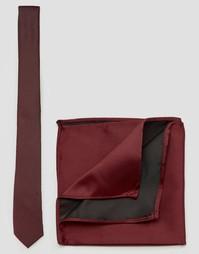 Галстук и платок для пиджака ASOS Burgundy - Burgundy