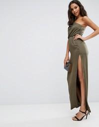 Драпированное платье макси на одно плечо ASOS - Хаки