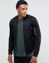 Черная зауженная куртка‑пилот с карманом в стиле MA1 ASOS - Черный