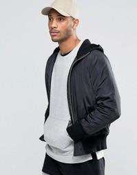 Черная куртка-пилот с трикотажным капюшоном ASOS - Черный